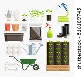 conceptual of gardening. garden ... | Shutterstock .eps vector #516189745