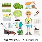conceptual of gardening .... | Shutterstock .eps vector #516190144