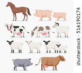 animal farm set. the horse pig... | Shutterstock .eps vector #516190174