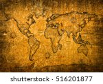 Vintage World Map With Grunge...