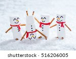 happy funny marshmallow snowmen ... | Shutterstock . vector #516206005