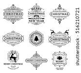 vector merry christmas label.... | Shutterstock .eps vector #516210721
