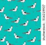 seamless vector birds pattern | Shutterstock .eps vector #516219937