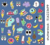 fashion patches vector set.... | Shutterstock .eps vector #516223699