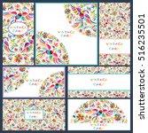 vector set of artistic creative ... | Shutterstock .eps vector #516235501