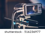 Video Recording Production. Making Music Video Clip. Recording Singing Woman - stock photo