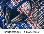 pro headphones on the sound... | Shutterstock . vector #516237019