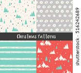 christmas seamless patterns... | Shutterstock .eps vector #516242689