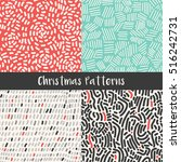 christmas seamless patterns... | Shutterstock .eps vector #516242731
