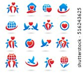 happy family set of icons and | Shutterstock .eps vector #516243625