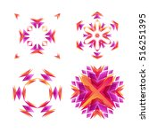 set of snowflakes with... | Shutterstock .eps vector #516251395