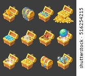 treasure chests isometric... | Shutterstock .eps vector #516254215