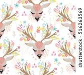 vector seamless pattern of cute ... | Shutterstock .eps vector #516263569