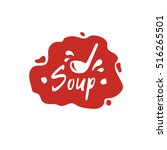 soup lettering logo on red...   Shutterstock .eps vector #516265501