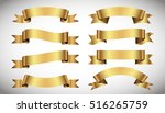 set of golden ribbons on gray... | Shutterstock .eps vector #516265759