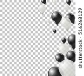 black and white helium balloons ... | Shutterstock .eps vector #516268129