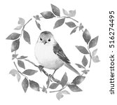cute bird with floral wreath.... | Shutterstock . vector #516274495