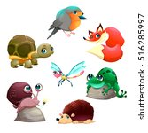 group of cute isolated animals. ... | Shutterstock .eps vector #516285997