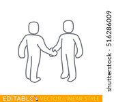 two people meet and shake hands.... | Shutterstock .eps vector #516286009