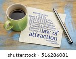 law of attraction word cloud on ... | Shutterstock . vector #516286081