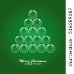 christmas card with white tree... | Shutterstock .eps vector #516289387