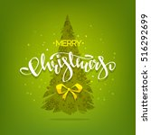 merry christmas   greeting card ... | Shutterstock .eps vector #516292699