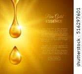 golden oil drops on yellow... | Shutterstock .eps vector #516297601