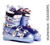 Ski boots. Isolate on white. - stock photo