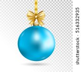 blue christmas ball with gold... | Shutterstock .eps vector #516332935