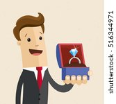 man in suit holds a jewelry box ... | Shutterstock .eps vector #516344971
