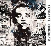 fashion woman on grunge... | Shutterstock . vector #516345751