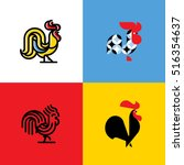set of rooster silhouettes.... | Shutterstock .eps vector #516354637