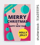 merry christmas new year design ... | Shutterstock .eps vector #516355591