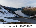 Mountain Road Above Fjord In...