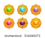 beautiful golden amulets with... | Shutterstock .eps vector #516360271
