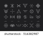 sacred geometry. set of minimal ... | Shutterstock .eps vector #516382987