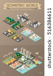 set of isolated isometric... | Shutterstock .eps vector #516386611