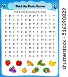 worksheet   find the fruit... | Shutterstock .eps vector #516390829