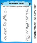 worksheet matching shapes find... | Shutterstock .eps vector #516399709