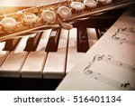 piano and flute with golden... | Shutterstock . vector #516401134