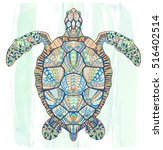 patterned turtle on the grunge...   Shutterstock .eps vector #516402514