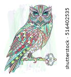 patterned owl with key on the... | Shutterstock .eps vector #516402535