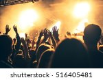 silhouettes of hands on concert ... | Shutterstock . vector #516405481