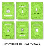 vegan thin line brochure cards... | Shutterstock .eps vector #516408181