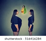 young fat woman looking at... | Shutterstock . vector #516416284