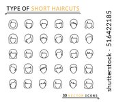 type of short haircuts. 30 thin ... | Shutterstock .eps vector #516422185