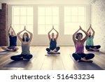 yoga practice exercise class... | Shutterstock . vector #516433234