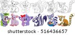 Stock vector cartoon animal set childish collection of fluffy mammals koala bears bad smelling skunk raccoon 516436657