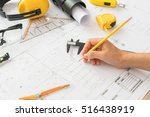 hand over construction plans... | Shutterstock . vector #516438919