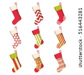 christmas stocking set isolated ... | Shutterstock .eps vector #516443281